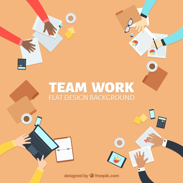 Teamwork concept in flat design