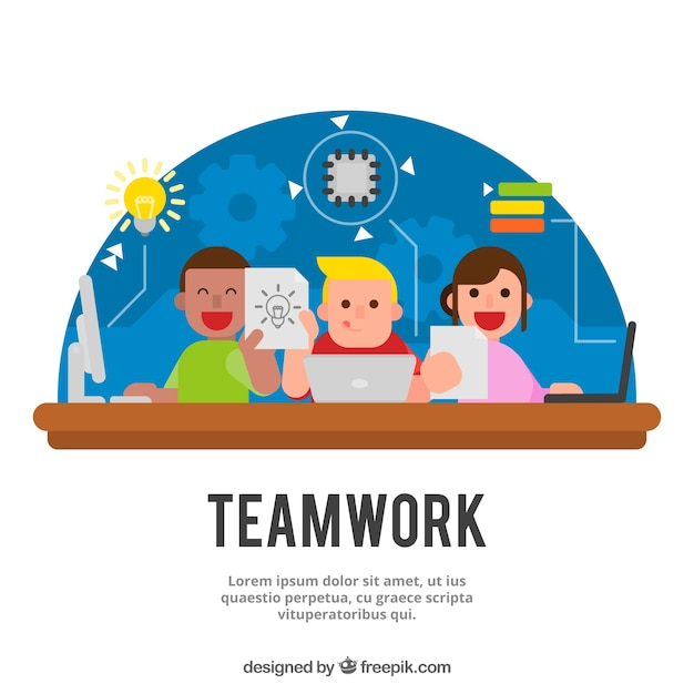 Teamwork concept in flat style
