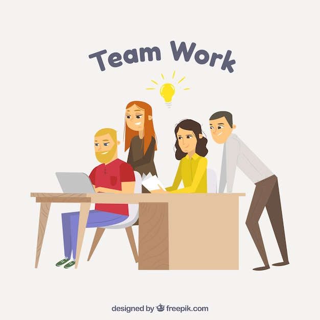 Teamwork concept in office