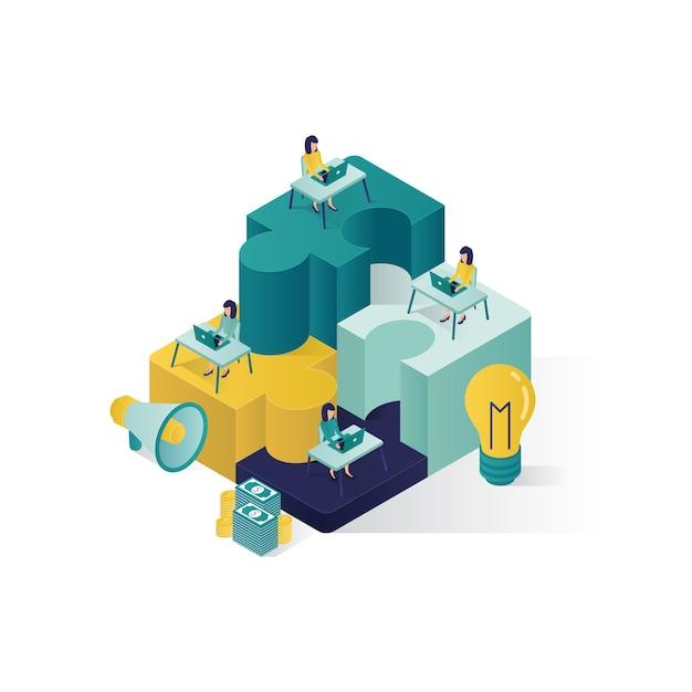 Teamwork concept isometric illustration . cooperation partnership concept illustration in isometric style. Premium Vector