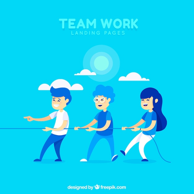 Teamwork concept landing page
