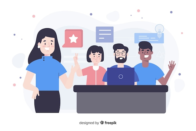 Teamwork concept for landing page Free Vector