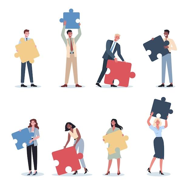 Набор концепции совместной работы. деловой мужчина и женщина, держащая часть головоломки. сотрудничество сотрудников, общение и решение. Premium векторы