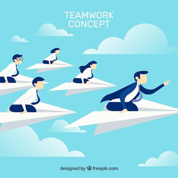 Teamwork concept in sky Free Vector