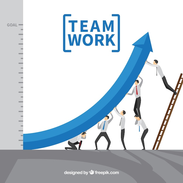 Teamwork concept with arrow Free Vector