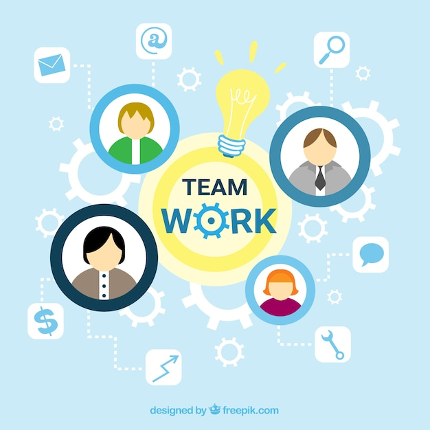 Teamwork concept with avatars