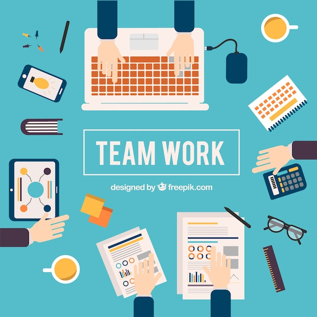 Teamwork concept with business elements