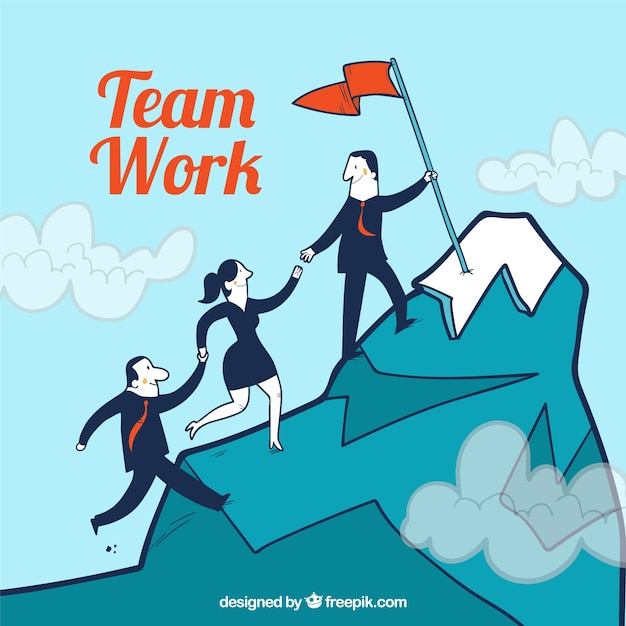 Teamwork concept with business people climbing\ mountain