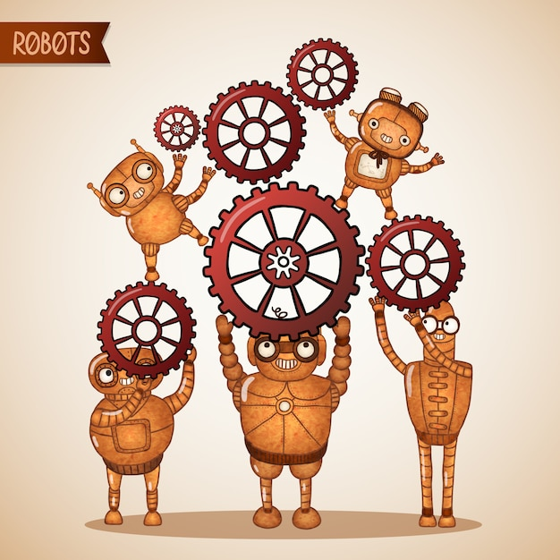 Teamwork concept with cogs and gears Free Vector