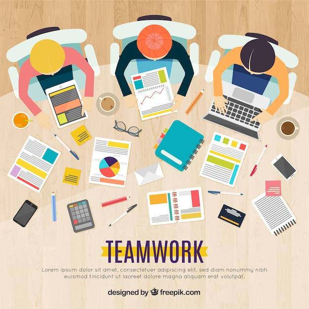 Teamwork concept with elements on desk