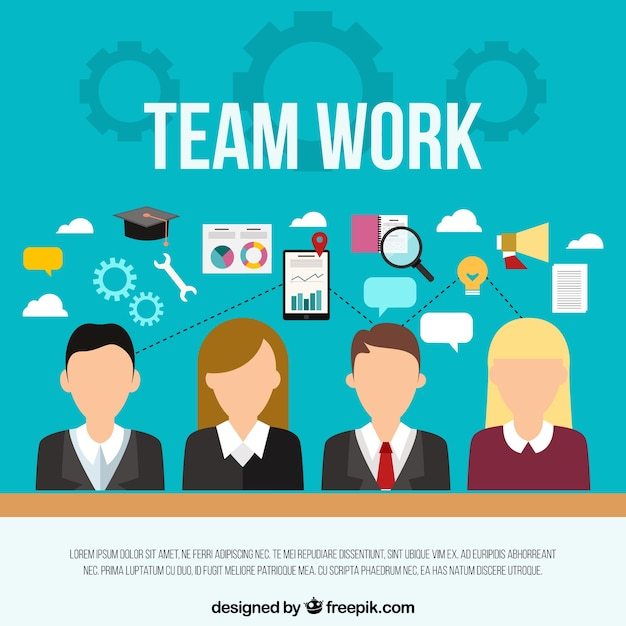 Teamwork concept with flat business\ people