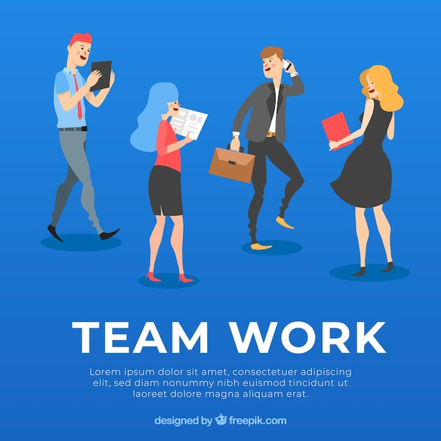 Teamwork concept with flat design Free Vector