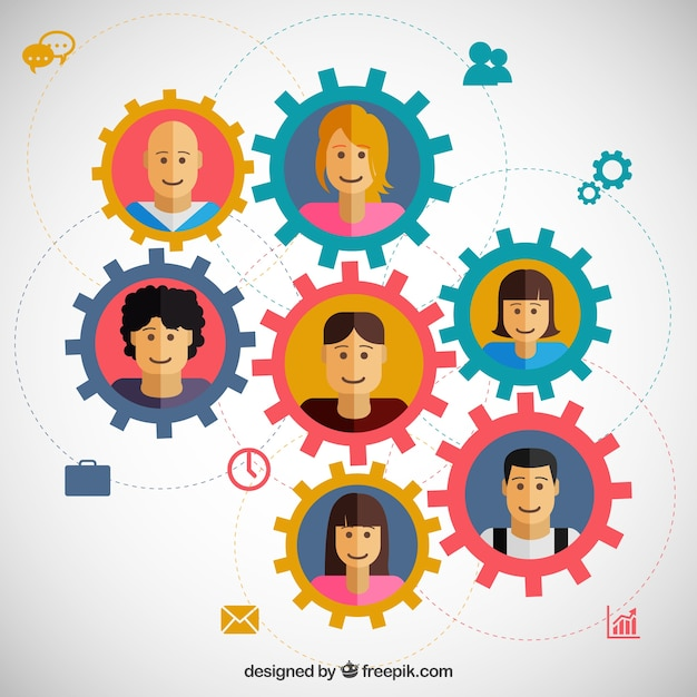 Teamwork concept with gears Free Vector