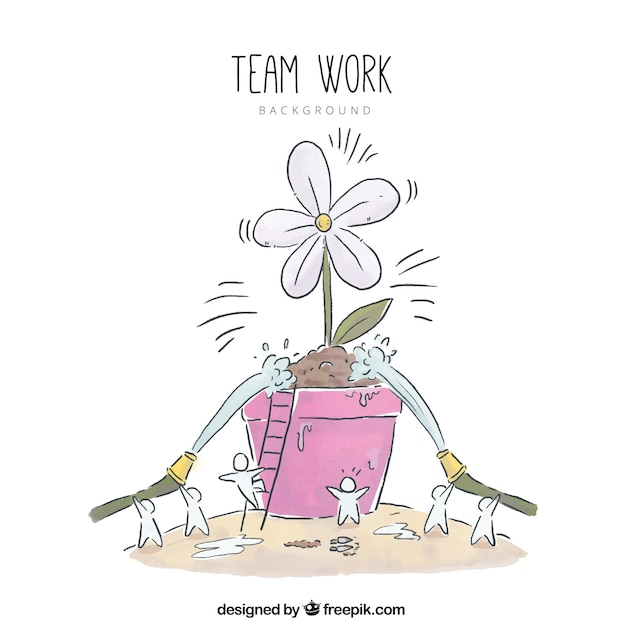 Teamwork concept with hand drawn plant