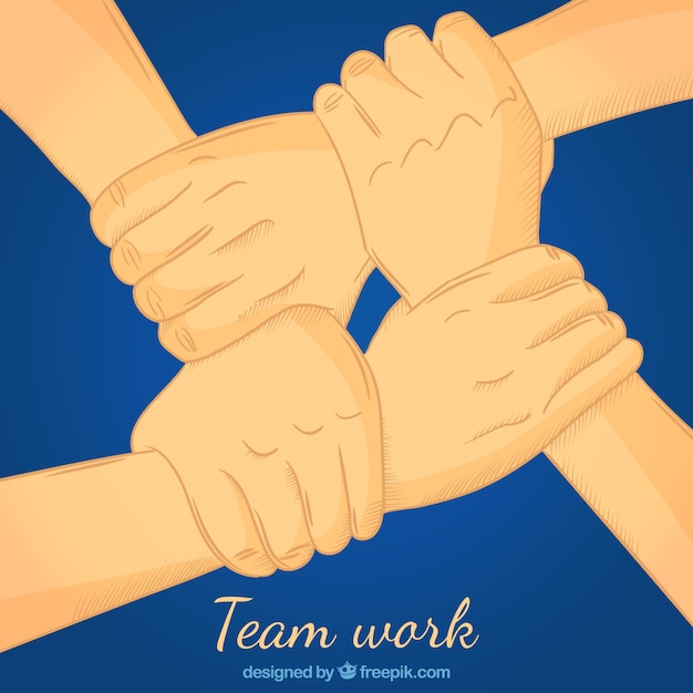 Teamwork concept with hands grabbing each\ other