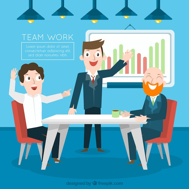 Teamwork concept with happy business\ people