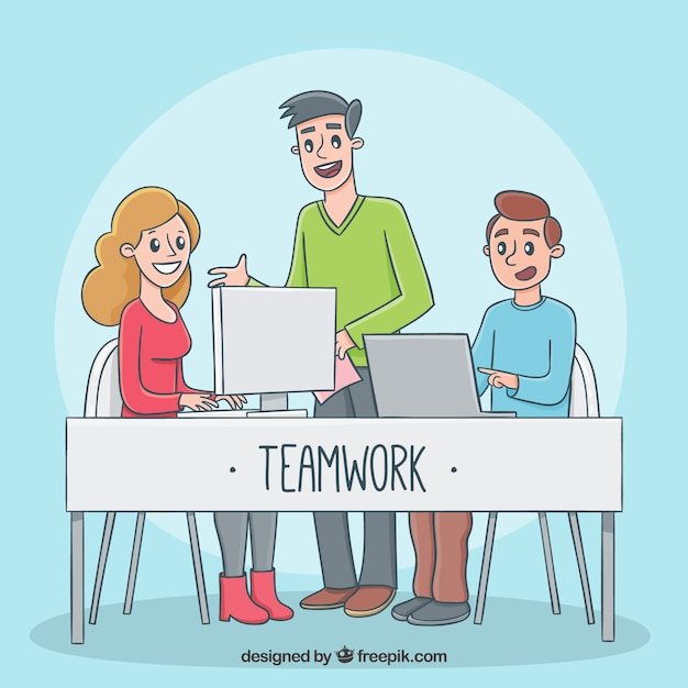 Teamwork concept with happy persons