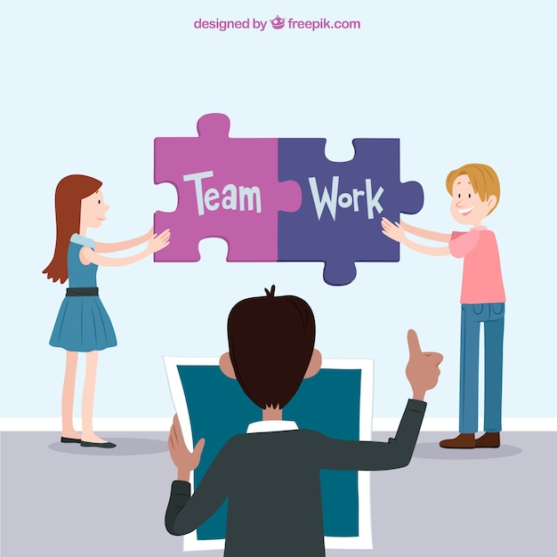 Teamwork concept with jigsaw pieces