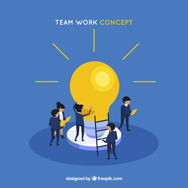 Teamwork concept with light bulb Free Vector
