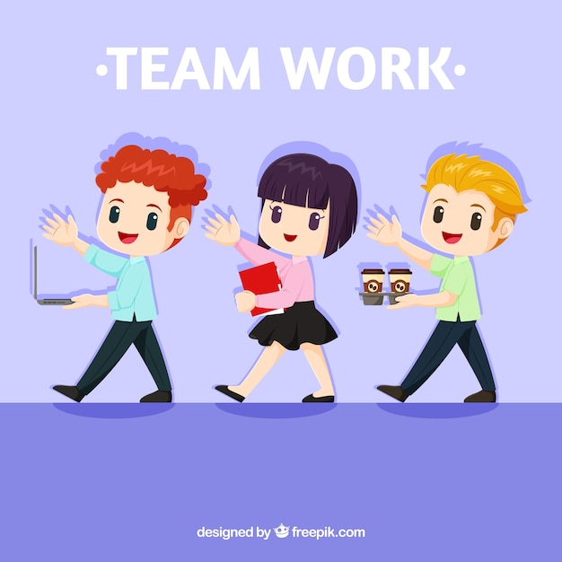 Teamwork concept with lovely characters