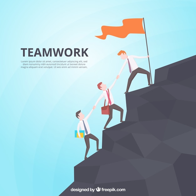 Teamwork concept with men climbing mountain Free Vector