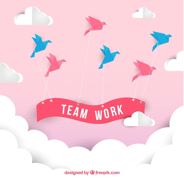 Teamwork concept with origami style Premium Vector