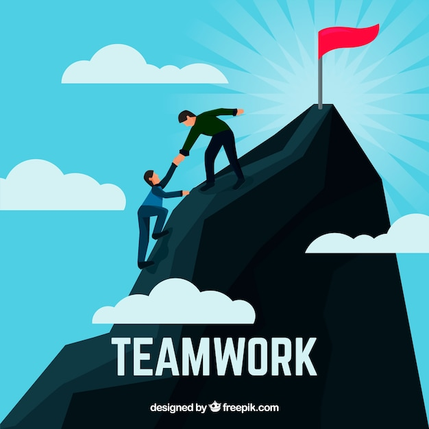 Teamwork concept with people climbing\ mountains