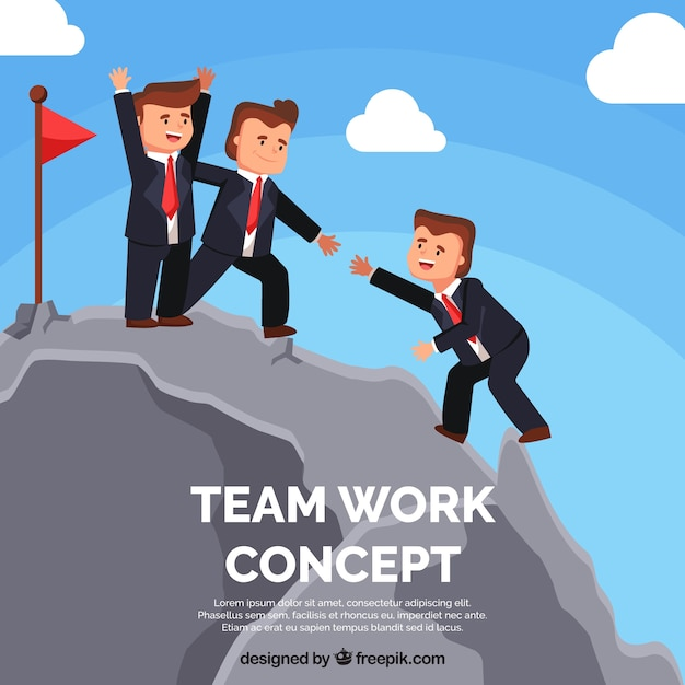 Teamwork concept with people climbing mountains Free Vector