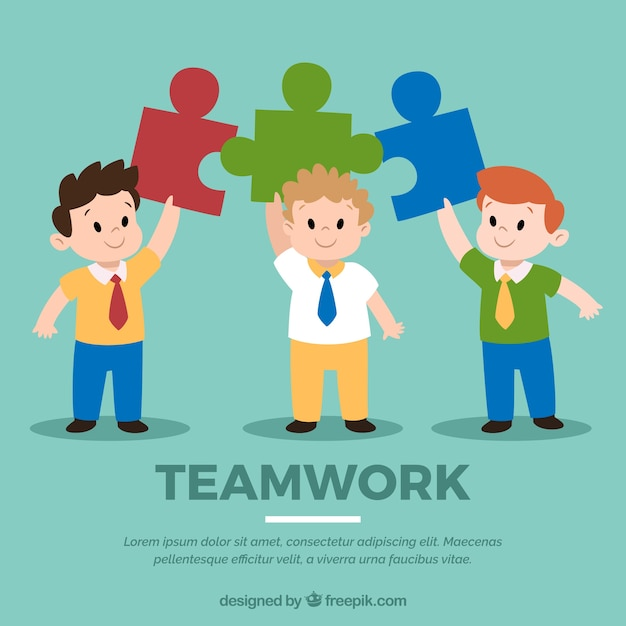 Teamwork concept with people holding\ jigsaw