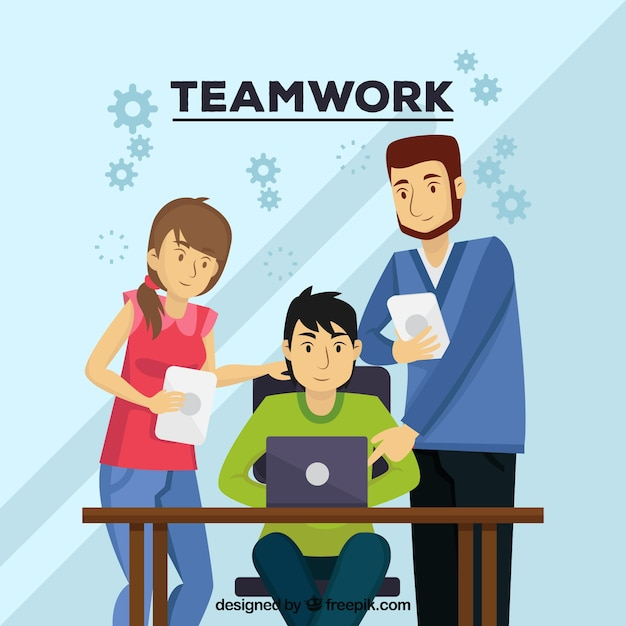 Teamwork concept with persons at desk