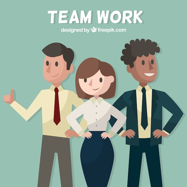 Teamwork concept with three persons Free Vector