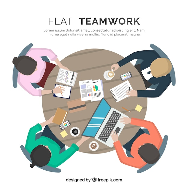Teamwork concept with top view of desk
