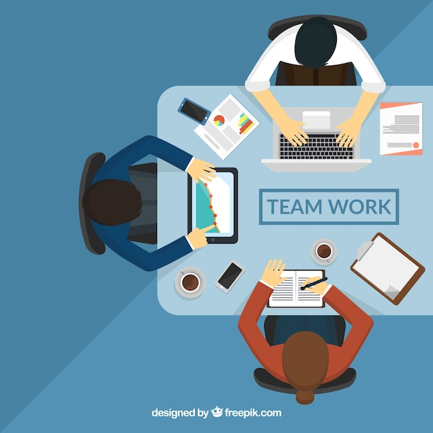 Teamwork concept with top view of table Free Vector