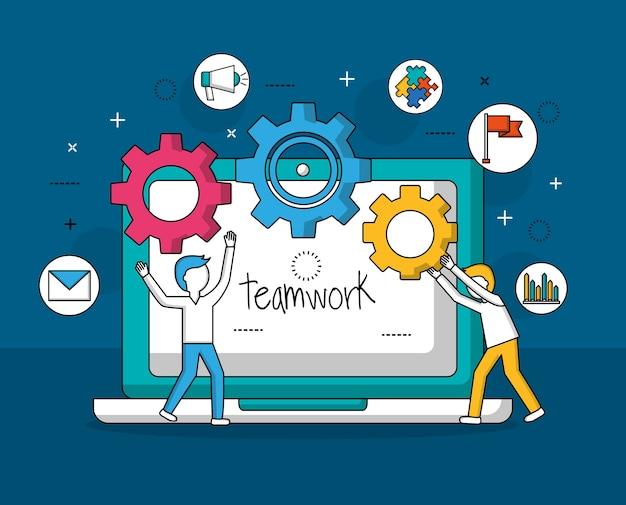 Teamwork concept Premium Vector
