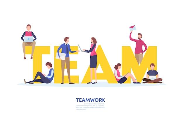 Teamwork concept. Premium Vector