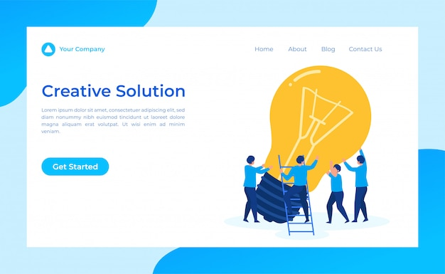 Teamwork creative solution landing page Premium Vector
