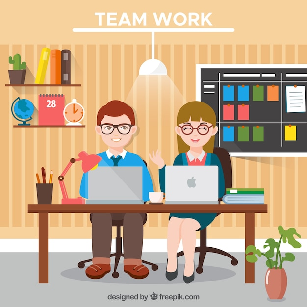 Teamwork, cute office