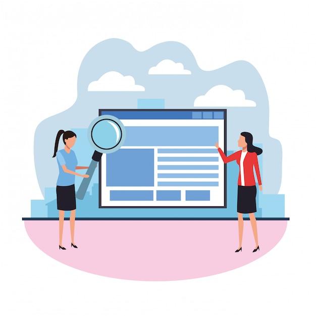 Teamwork data research Premium Vector