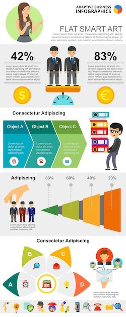 Teamwork diagrams set for presentation slide\ templates