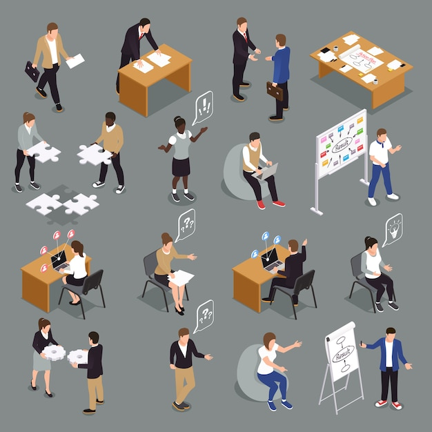 Teamwork efficient collaboration isometric icons collection with interacting unified sharing ideas brainstorming decisions making people Free Vector
