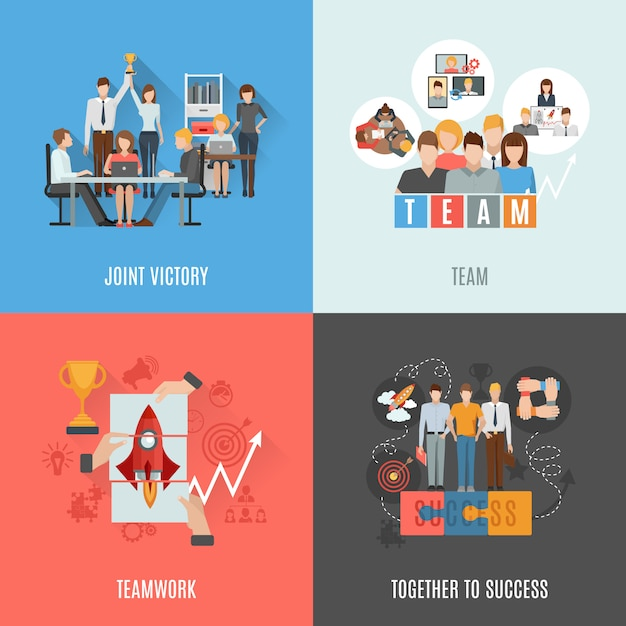 Teamwork flat icons square composition Free Vector