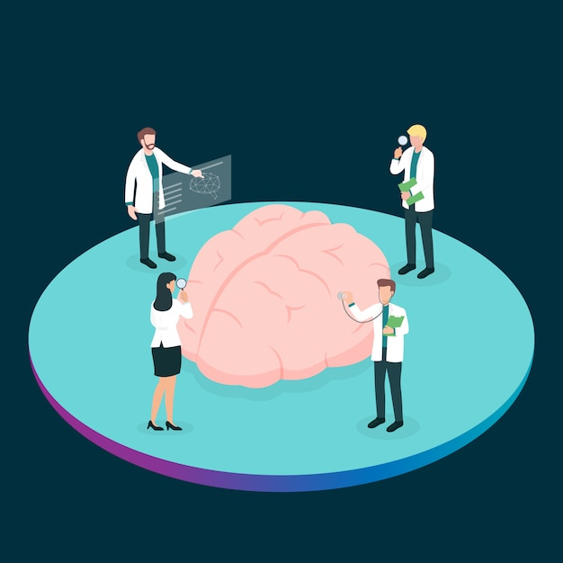Teamwork group of medical doctor or health professional analysis the brain to find the problem Premium Vector