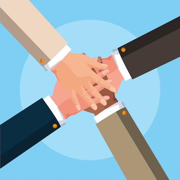Teamwork hands avatar character vector ilustration Premium Vector
