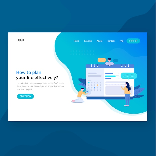 Teamwork header website landing page Premium Vector