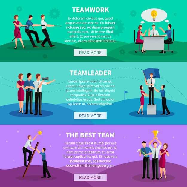 Teamwork horizontal banners with people working in command team leader and best team Free Vector