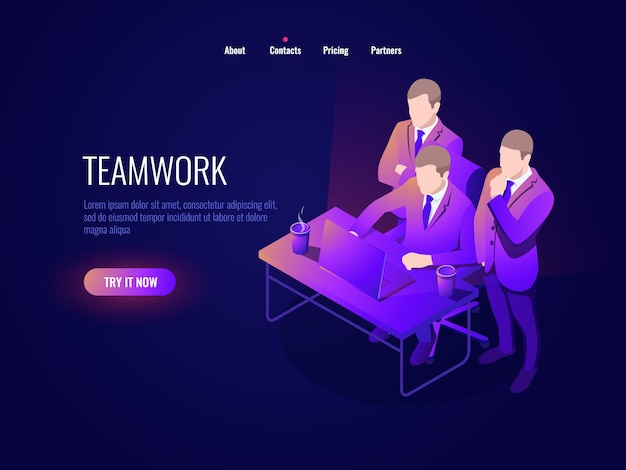 Teamwork icon isometry, collective discussion, project discussion, startup, business management Free Vector
