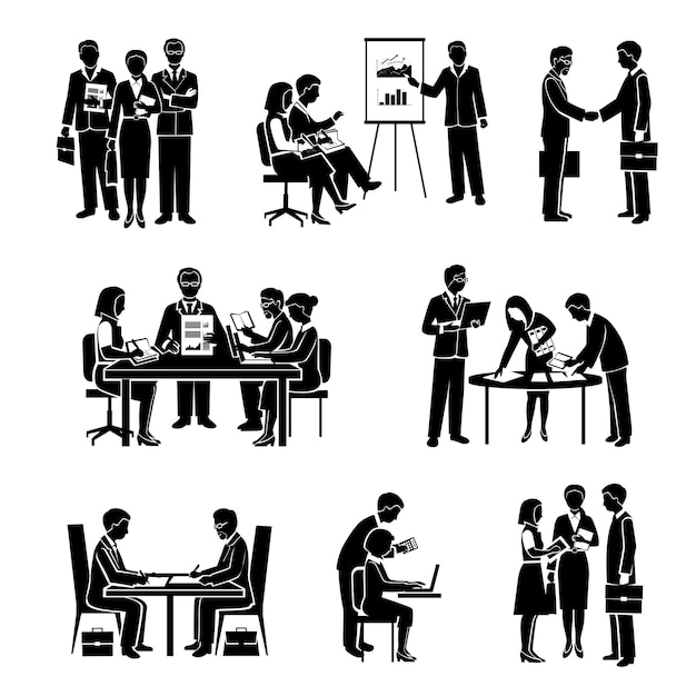 Teamwork icons black set with business people and ...