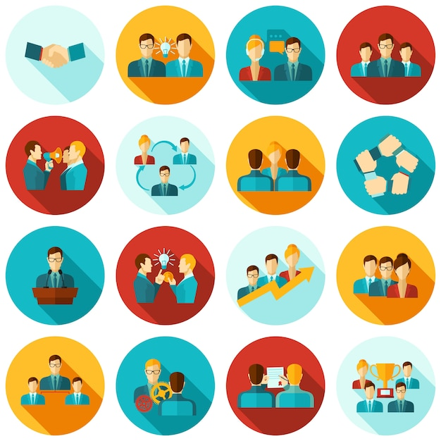 Teamwork icons flat Free Vector