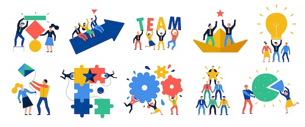 Teamwork icons set Free Vector
