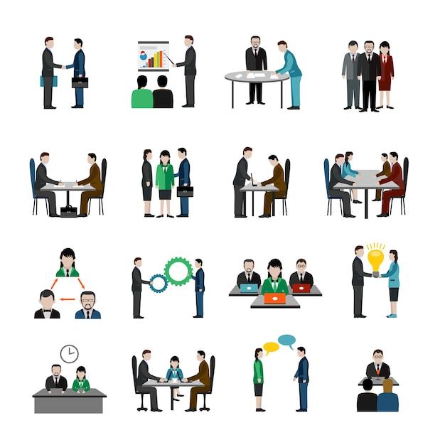 Teamwork icons set Free Vector